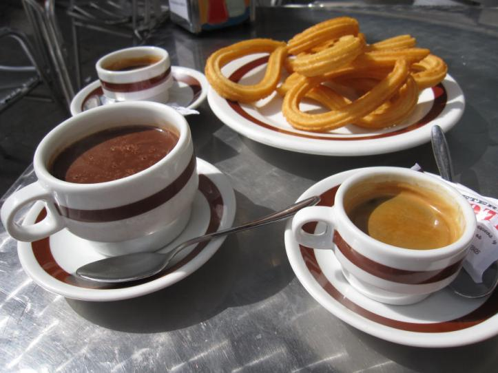Churros con Chocolate at the Cafeteria Ricote in Madrid