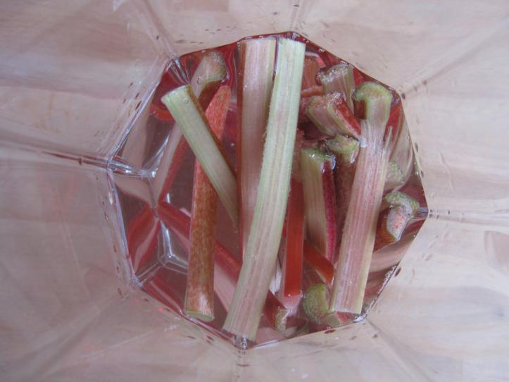 The rhubarb infusing with the vodka.  By the time it was finished, the rhubarb was colorless and the vodka, bright pink.