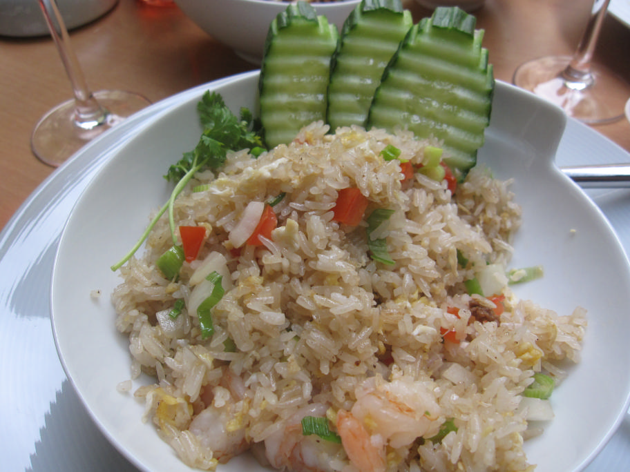 """""""Khao Phad Koong"""" or, shrimp with rice, eggs, carrots, onions, spring onions and tomatoes"""