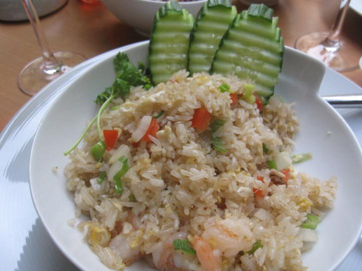 """Khao Phad Koong"" or, shrimp with rice, eggs, carrots, onions, spring onions and tomatoes"