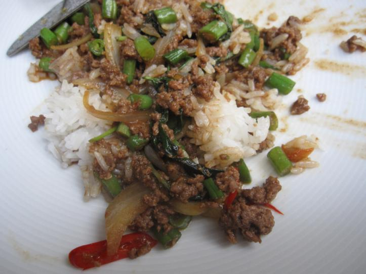 """Neur Phad Kra-Prao"" or Beef minced with green beans, onions, garlic, chilies and fresh basil leaves"