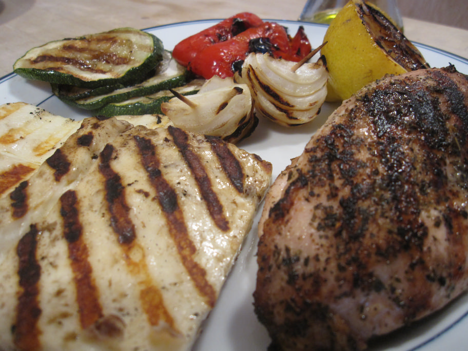 Grilled Haloumi with Grilled Lemon, Greek Seasoned Chicken and Grilled Veggies